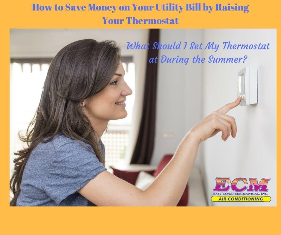 woman using an ac thermostat in boynton beach